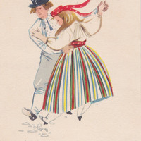 "A. Vender ""Estonian Folk Costume"" Postcard -- 1960"