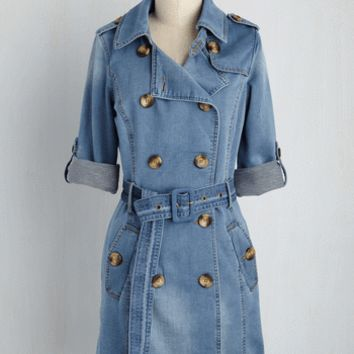 Denim Delights Trench | Mod Retro Vintage Coats | ModCloth.com