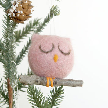 Needle Felted Owl Ornament, Christmas Ornament, Pink Owl Decoration, Felt, Natural, Eco Friendly, Cute, Sugar Plum, Cute Woodland Rustic