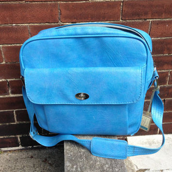 Vintage Bright Sky Blue Samsonite Silhouette Carry-On Luggage