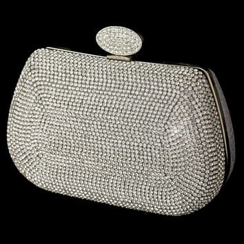 Silver Clear Rhinestone Encrusted Front Evening Bag with Link Chain
