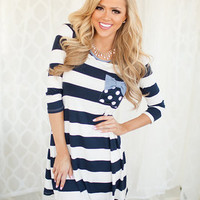 Blooming Beauty Tunic in Navy