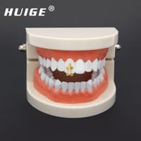 ac DCCKO2Q Single Cross Teeth Grillz Gold Color Canine One Tooth Grills Upper Hip Hop Top Fangs Hollow Grill