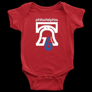 Retro Philly 76 Bicentennial Inspired Red Infant Bodysuit