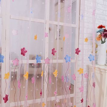 1PC Home Textile Lovely Cartoon Star Print Window Curtains Tulle Voile Sheer Curtains for Kids Girls bedroom living room