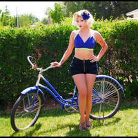 Wrap Front Crop Top, Pin Up Girl Bikini Top, Halter Neck Crop Top, Rockabilly Beach Top, Colour Block Bikini, Vintage Style Top Size: XS-XL,
