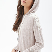 FOREVER 21 Boxy Crochet Hoodie Taupe/Cream