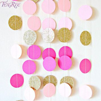 FENGRISE 2M Circle Paper Garland Colorful Wedding Garland Bridal Shower Party Supplies Wedding Decoration Hanging