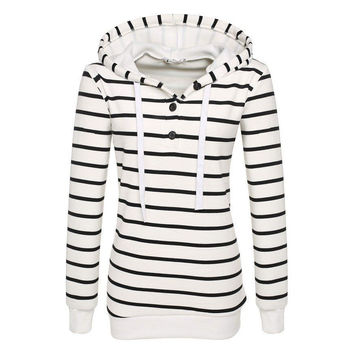 Striped Hoodies Women Sweatshirts Hooded Hoody Autumn Spring Slim Pullovers femme Casual Tracksuit Sweat Shirt Girls Best Friend