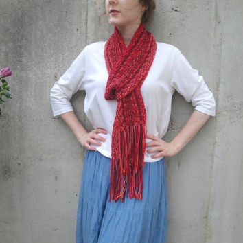 Red Striped Scarf with Fringe, Knit Scarf, Oversized Scarf, Western Boho, Cheery Fashion, Super Extra Long, Art