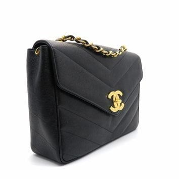 Chanel Herringbone Caviar Leather Vintage Chain Shoulder Bag Black