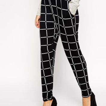ASOS Peg Trouser In Grid Check at asos.com