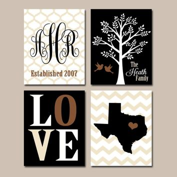 Family Tree Custom Wall Art CANVAS or Prints Chevron Monogram Initial State LOVE Bird Tree Established Date Set of 4 Wedding Gift Home Decor