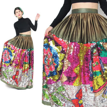 Vintage Sequin Maxi Skirt Skirt Hand Beaded Skirt Neon Rainbow Gypsy Boho Indian Skirt Beaded Sequined Skirt High Waisted Party Skirt (S)