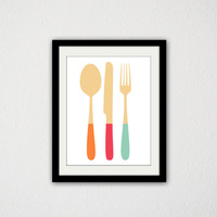"Minimalist Kitchen print. Wooden Utensils. Bright Colors. Spoon. Fork. Knife. Retro Kitchen. Home Decor. Wall Art. 8.5x11"" Print"