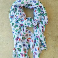 Sugar Skull Scarf [3328] - $16.00 : Vintage Inspired Clothing & Affordable Dresses, deloom | Modern. Vintage. Crafted.