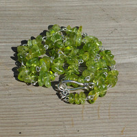 Peridot Stone Necklace ~ August Birthstone ~ Green Jewellery ~ Healing Crystals ~ Raw Stones ~ Birthday Gift ~ Anniversary Present
