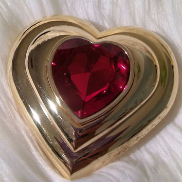 New Vintage Yves Saint Laurent Poudre Ecrin Fine Gold Plated Jeweled Heart Compact