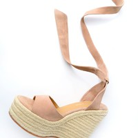 Barca Blush Kid Suede Leather Lace-Up Espadrille Wedges