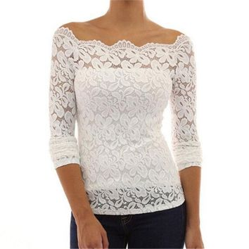 PEAPIX3 Women Shirts Fashion Long Sleeve White Lace Blouse Off Shoulder = 1932035780