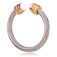 David Yurman Style Cable Bracelet Polished/Matte Gold with White Crystal Gem
