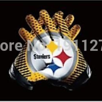 Pittsburgh Steelers American Football flag 90 * 150CM decorative 100D sports gloves free shipping NFL flag Super Bowl logo BC405