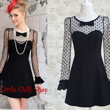 Sweet Party Dolly Queen Slim Dots Lace Sexy Princess Black onepiece Dress S~XL