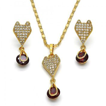 Gold Layered 10.236.0021 Necklace and Earring, Heart and Teardrop Design, with White and Garnet Cubic Zirconia, Polished Finish, Golden Tone