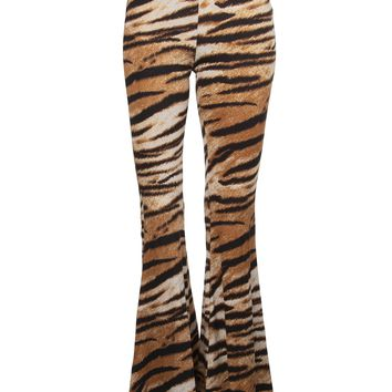 Eye of the Tiger Animal Print Flared Bell Bottom Pants