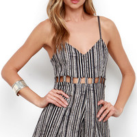 RVCA Easy Peasy Ivory and Black Print Romper