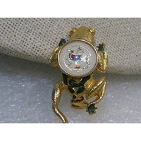 "Vintage PA Dutch Frog & Distelfink Brooch, Enameled, 1.5"", Gold tone"