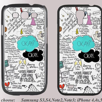 The Fault in our stars------ okay English letters samsung cover case galaxy case rubber for samsung s3/s4/note2/note/3 iphone4/4s/5/5s/5c