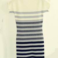 Striped Short Sleeve Knit Bodycon Mini Dress