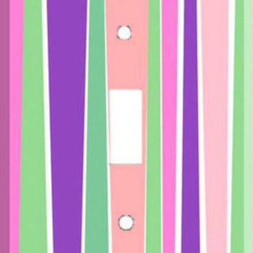Light Switch Cover - Light Switch Plate Pink Purple Stripe Vertical