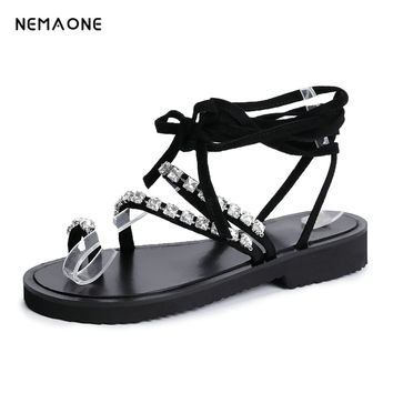 NEMAONE Women's Sandals 2018 NEW kid suede Leather Shoes Woman Summer Ankle Strap wedges heel Ladies