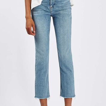 MOTO Mid Blue Straight Jeans | Topshop