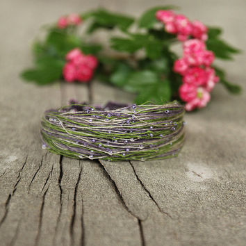 Dainty bracelet, summer trends, gift for mom, linen bracelet, purple green bracelet, 2015 fashion trends, gift for friend