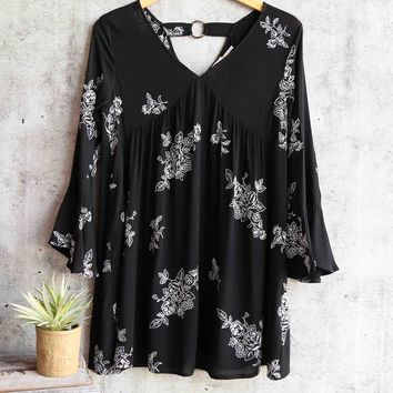 blu pepper - embroidered shift dress - black