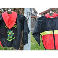 Vintage 1990 Kids Teenage Mutant Ninja Turtles Nylon Jacket Size 6, TMNT Leonardo Nylon Jacket For Boys, TMNT Turtle Power Jacket