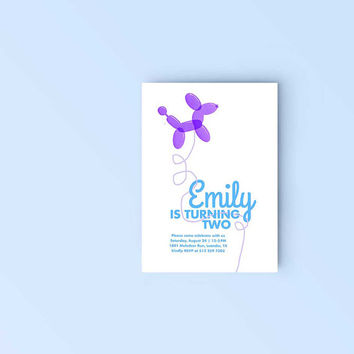 Printable Birthday Party Invitation - Adorable Balloon Dog invite