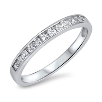 Choose Color Womens Baguettes Wedding Band Rhodium Plated Sterling Silver Baguettes Wedding Ring