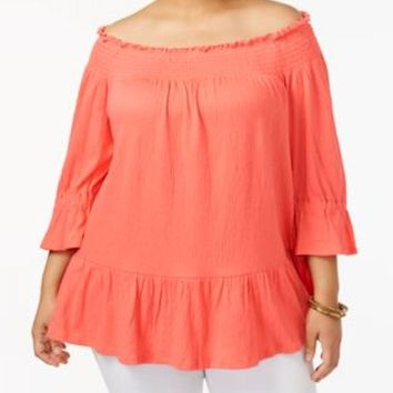 New NY Collection Women's Stretch Orange Off-The-Shoulder Blouse Top Plus 3X