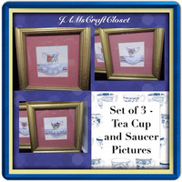 Tea Cups and Saucers-Vintage-Wall Art-Wall Hanging-Set of 3-Home Decor-Kitchen Decor-Country Decor-Victorian Decor-Gift-