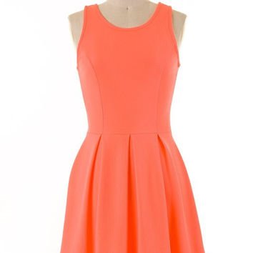 Sleeveless Pleated Dress - Neon Coral