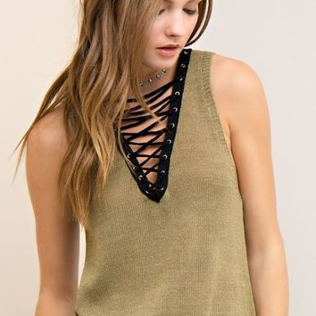 Lace Up Knit Tank