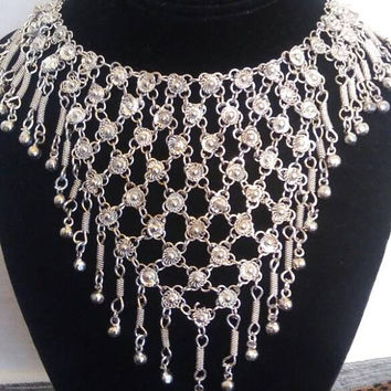 Vintage Statement Necklace, 1960's 1970's Collectible Boho Bali Jewelry, Silver Tone Metal, Rare Runway Jewelry