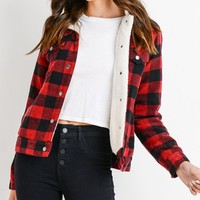 Hanging In Seattle Buffalo Plaid Pattern Sherpa Fleece Trim Long Sleeve Snap Jacket Outerwear - 2 Colors Available