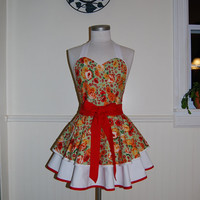 Green, Red and White Floral Apron with Heart Pocket and Piping details