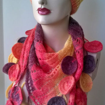 Hand Knitting Women Hat and Scarf , Shawl,Neckwarmer / Shades of Red,Orange Yellow / Hand Knit Women Set / Ready to Shipping