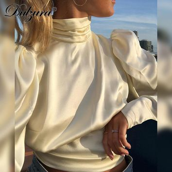 Dulzura long sleeve ruched high neck backless lace up tunic blouse 2018 autumn winter women casual shirt open back top